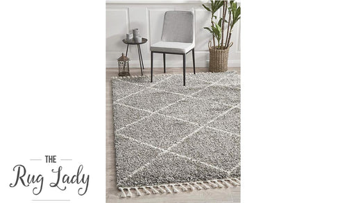Saffia Natural Grey Diamonds Plush Boho Rug