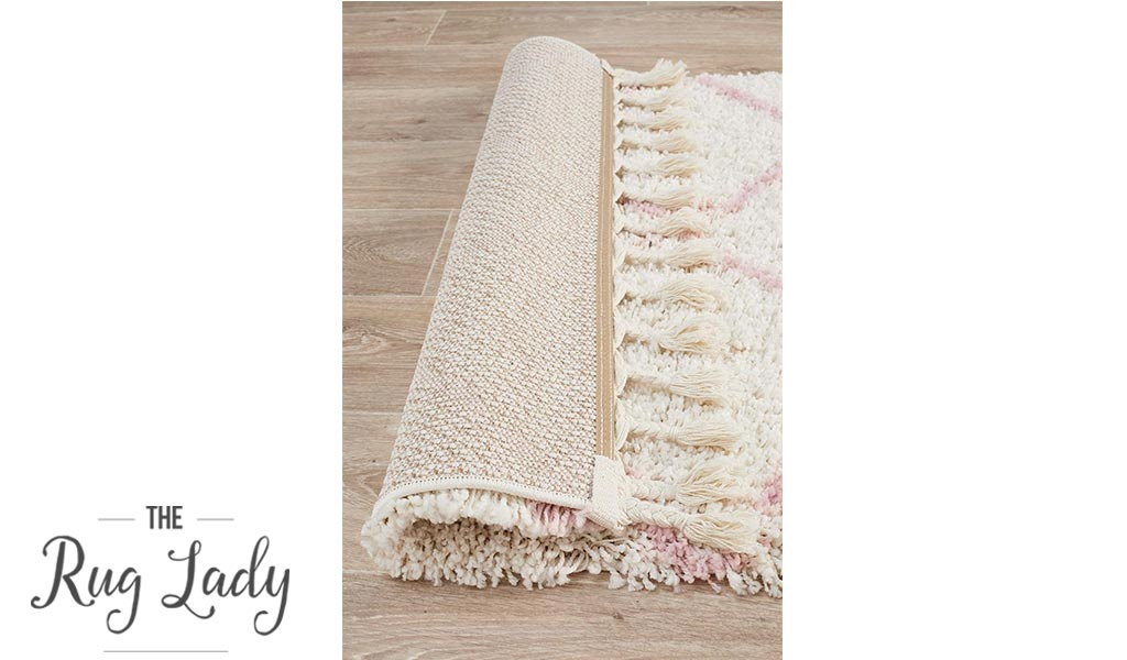 Saffia Pink Diamonds Plush Boho Rug