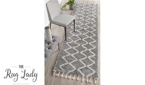 Saffia Silver Diamonds Plush Boho Hallway Runner