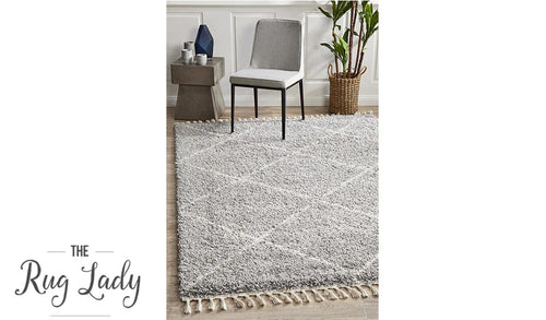 Saffia Silver Diamonds Plush Boho Rug