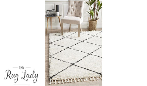 Saffia Natural Off-White Diamonds Plush Boho Rug