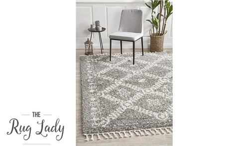 Saffia Natural Grey Ethnic Prints Plush Boho Rug