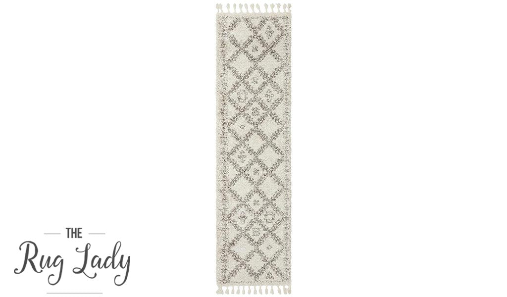 Saffia Natural Ethnic Prints Plush Boho Hallway Runner