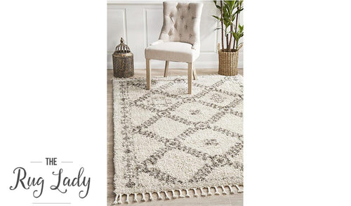 Saffia Natural Ethnic Prints Plush Boho Rug