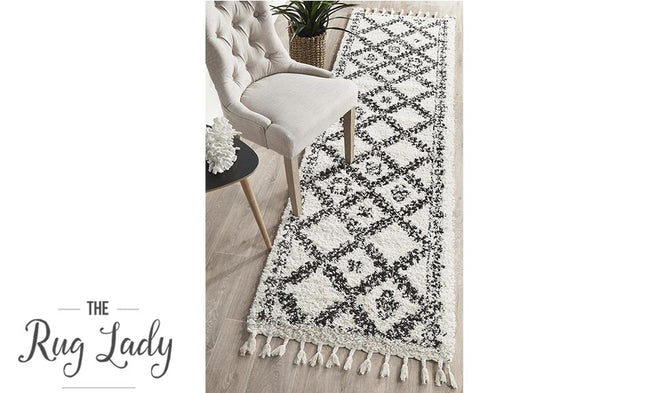 Saffia Natural Off-White Ethnic Prints Plush Boho Hallway Runner