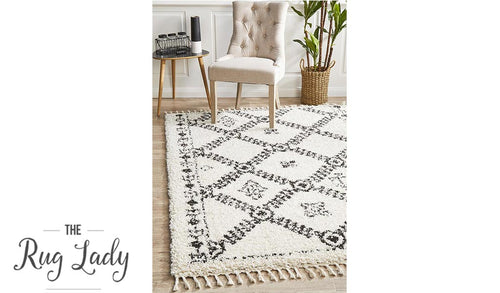 Saffia Natural Off-White Ethnic Prints Plush Boho Rug