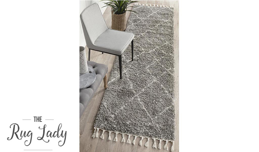 Saffia Natural Grey Ethnic Prints Plush Boho Hallway Runner