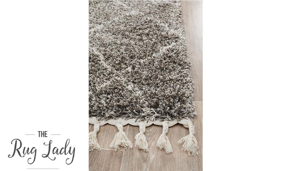 Saffia Natural Grey Tribal Imprints Plush Boho Hallway Runner