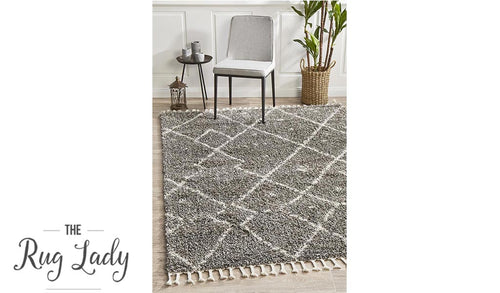 Saffia Natural Grey Tribal Imprints Plush Boho Rug