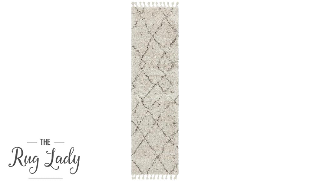Saffia Natural Tribal Imprints Plush Boho Hallway Runner