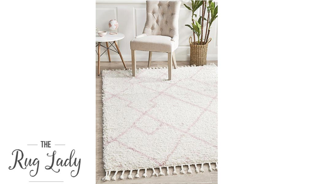 Saffia Pink Tribal Imprints Plush Boho Rug