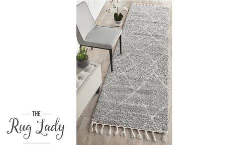 Saffia Silver Tribal Imprints Plush Boho Hallway Runner