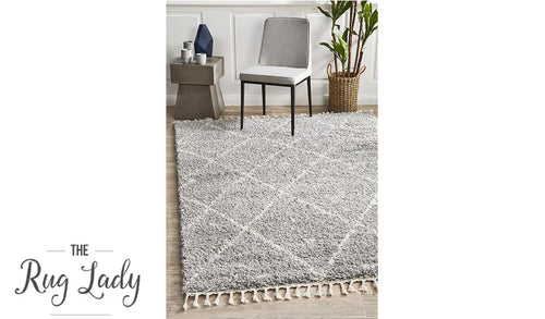Saffia Silver Tribal Imprints Plush Boho Rug