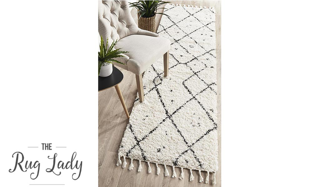 Saffia Natural Off-White Tribal Imprints Plush Boho Hallway Runner