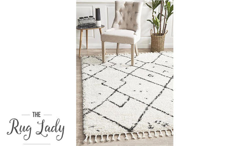 Saffia Natural Off-White Tribal Imprints Plush Boho Rug