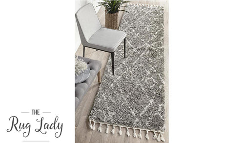 Saffia Natural Grey Lattice Plush Boho Hallway Runner