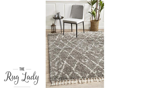 Saffia Natural Grey Lattice Plush Boho Rug