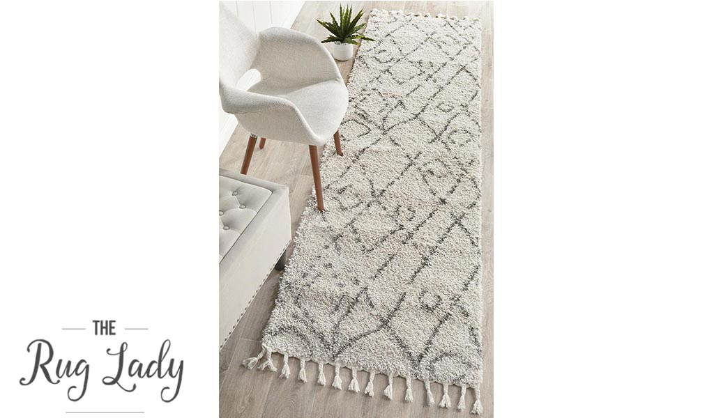 Saffia Natural Lattice Plush Boho Hallway Runner