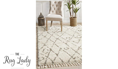 Saffia Natural Lattice Plush Boho Rug