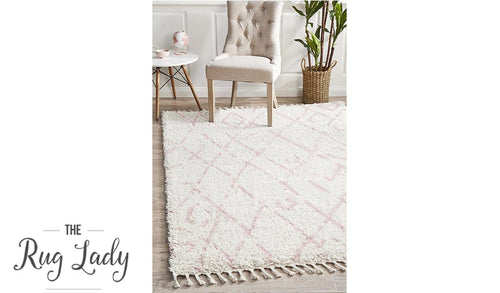 Saffia Pink Lattice Plush Boho Rug