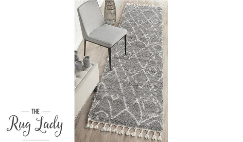 Saffia Silver Lattice Plush Boho Hallway Runner