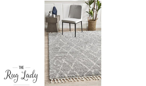 Saffia Silver Lattice Plush Boho Rug