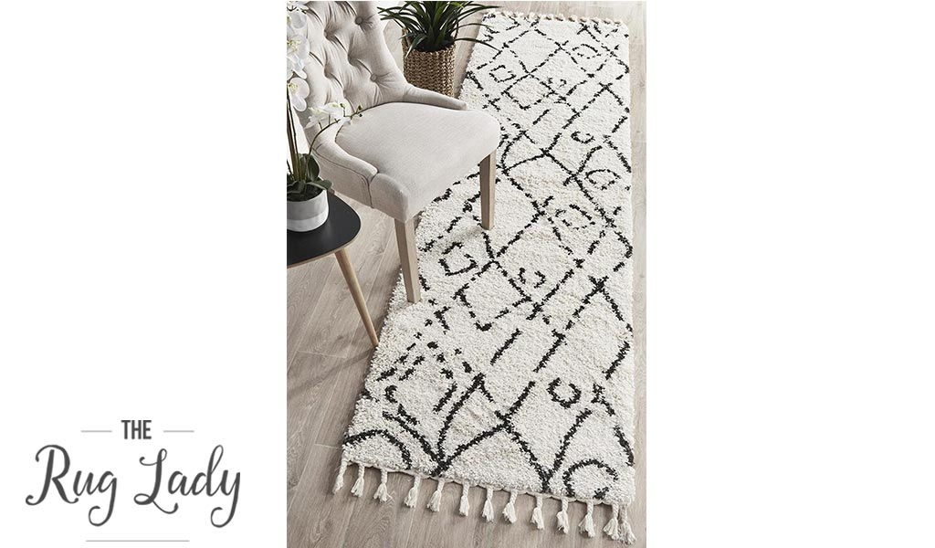 Saffia Natural Off-White Lattice Plush Boho Hallway Runner
