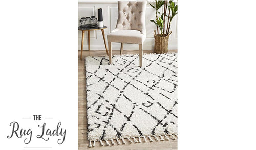 Saffia Natural Off-White Lattice Plush Boho Rug