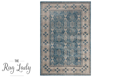 Ziah Blue Classic Stonewashed Traditional Rug