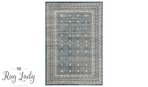 Ziah Grey Blue Classic Stonewashed Traditional Rug