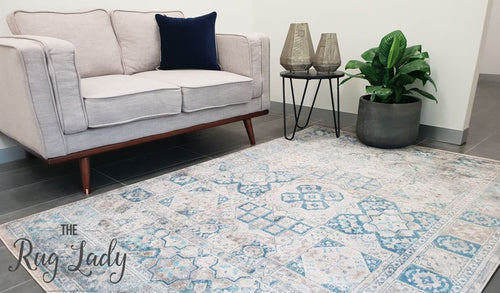Ziah Blue Grey Stonewashed Traditional Rug