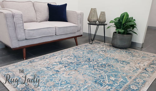 Ziah Blue Stonewashed Vintage Traditional Rug