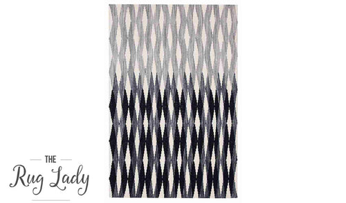 Artiste Black Grey Monochrome Flat Weave Wool Rug