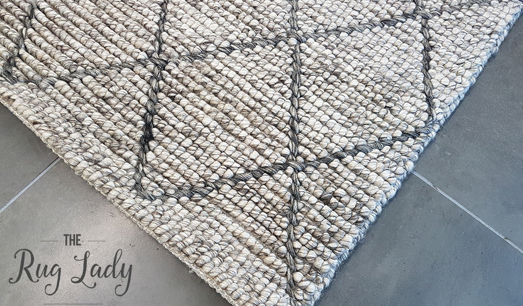 Savannah Grey Tribal Diamond Felted Wool Rug