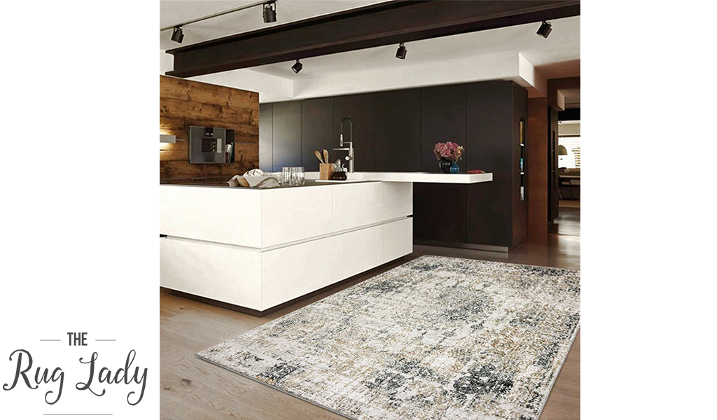 Estelle Beige Grey Medallion Distressed Rug
