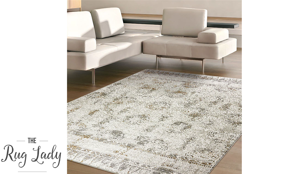Estelle Off White Geometric Distressed Rug