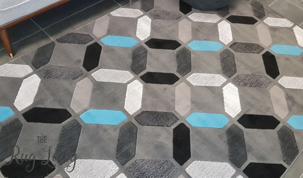 Style Blue Grey Geometric Diamond Tiles Rug