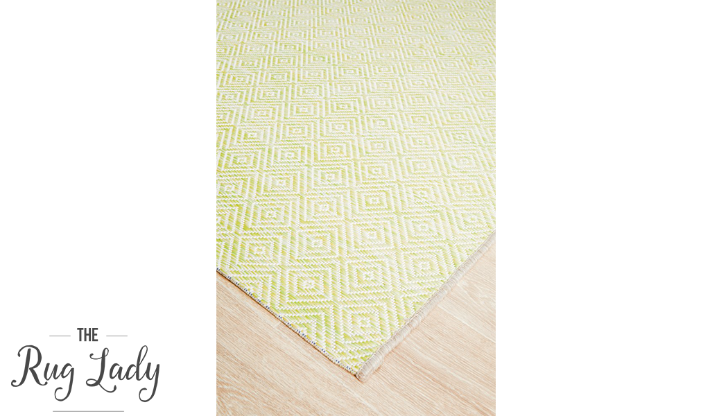 Tash Yellow Diamond Patterned Outdoor Rug The Rug Lady