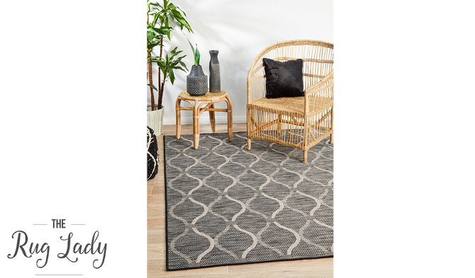 Tash Black Geometric Trellis Pattern Outdoor Rug