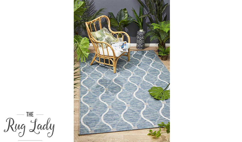 Tash Blue  Geometric Trellis Pattern Outdoor Rug