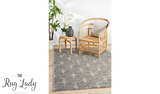 Tash Black Geometric Diamond Pattern Outdoor Rug