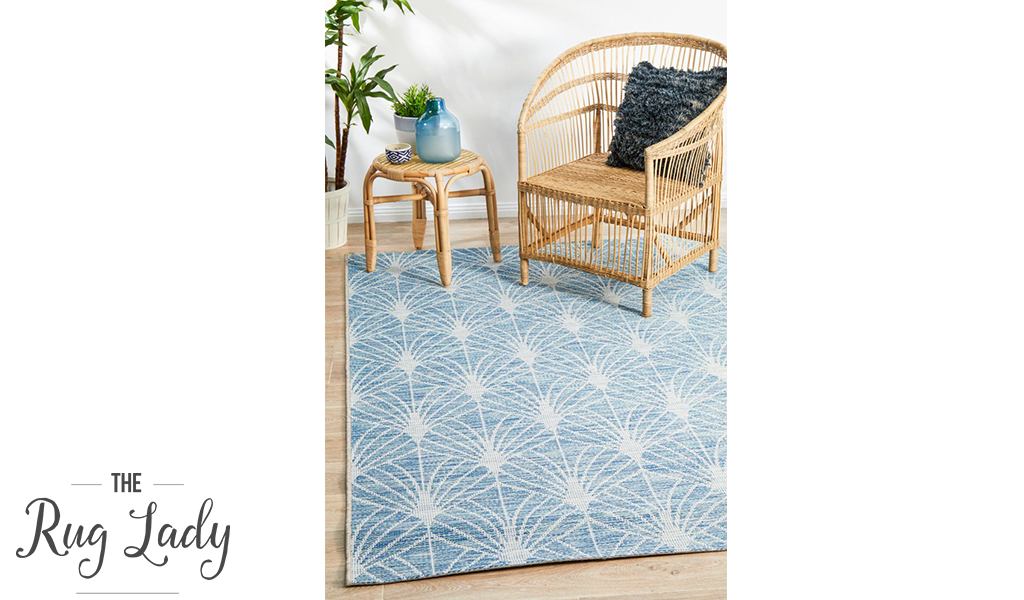 Tash Blue Geometric Diamond Pattern Outdoor Rug