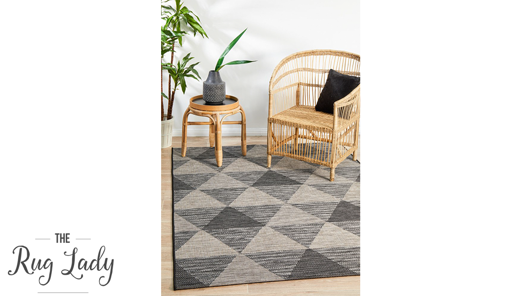 Tash Black Geometric Triangle Outdoor Rug