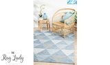 Tash Blue Geometric Triangle Outdoor Rug