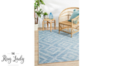 Tash Blue Diamond Geometric Outdoor Rug