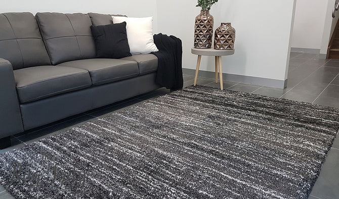 Thibet Dark Grey White Stripe Lines Rug