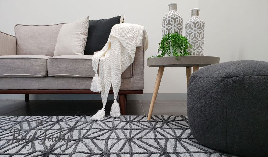 Visage Grey Black Geometric Abstract Pattern Rug
