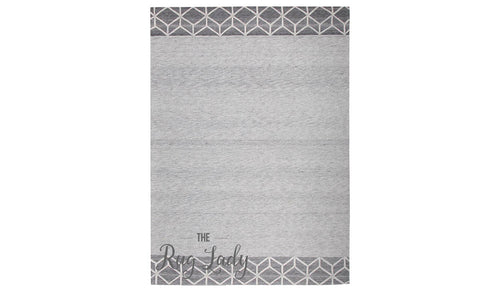 Visage Grey Geometric Pattern Border Rug