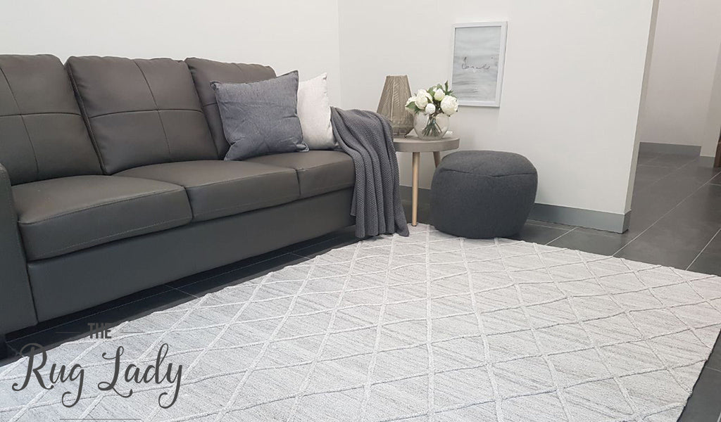 Visage Silver Grey Diamond Pattern Rug
