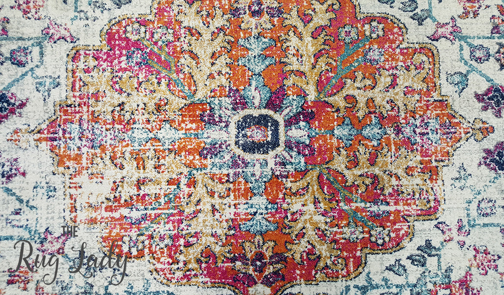 Awaken White Orange Power Loomed Rug